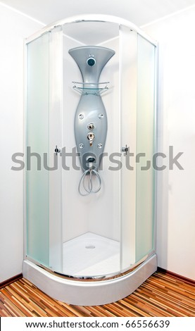 Bathroom with shower cabin and multi hydro jets - stock photo