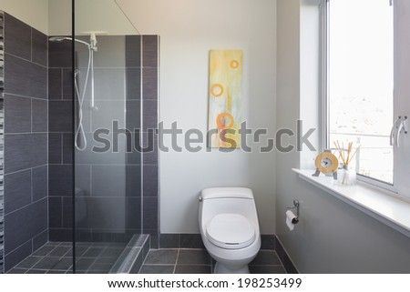 Bathroom with shower in grey. - stock photo