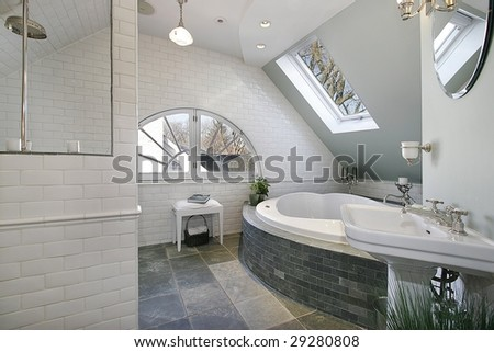 Bathroom with skylights - stock photo