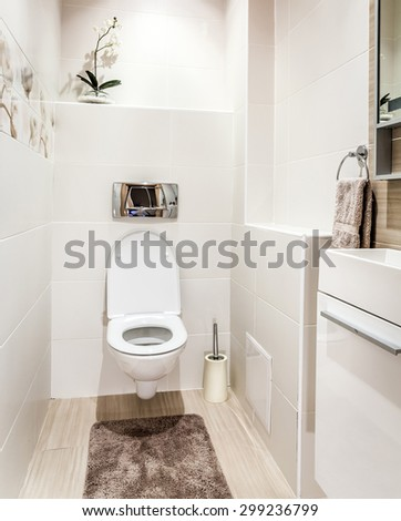 Bathroom with toilet in modern style - stock photo
