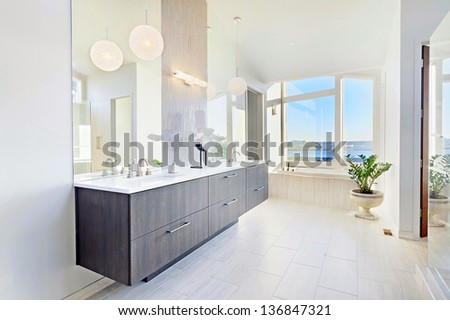 Bathroom with View in Luxury Home - stock photo