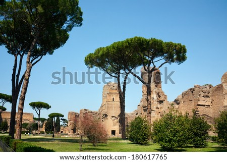 Baths of Caracalla, ancient roman public baths, in Rome, Italy - stock photo