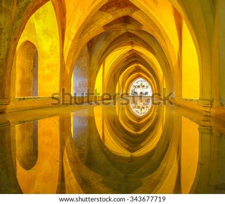 Baths of Dona Maria Padilla in the Royal Alcazars, Seville, Spain. - stock photo
