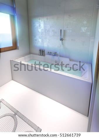 bathtub in bathroom . 3D render with wireframe