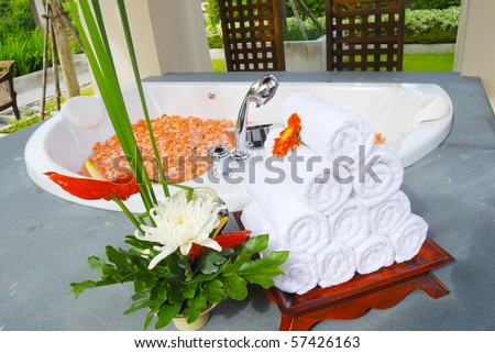 Bathtub in Spa  thailand - stock photo