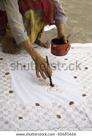 Batik process - stock photo