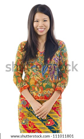 Batik usually worn by women in Indonesia, Malaysia, Brunei, Burma, Singapore, southern Thailand. - stock photo
