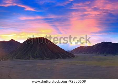 Batok Volcano at Bromo Mountain Region National Park East Java Indonesia at Dusk - stock photo