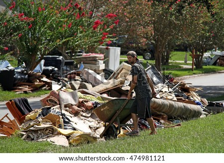 BATON ROUGE - AUGUST 20: Cleaning up after the flood of 2016 in Baton Rouge, LA.