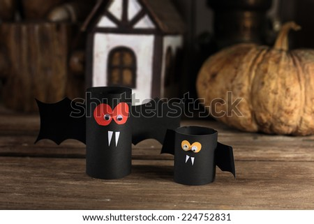 Bats and pumpkin of Halloween - stock photo