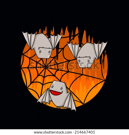 Bats and spider web illustration for Halloween; Bats in a cave - stock photo