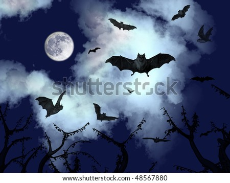 bats flying in the dark cloudy sky of halloween - stock photo