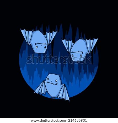 Bats in a cave illustration; Cute bats cartoon - stock photo