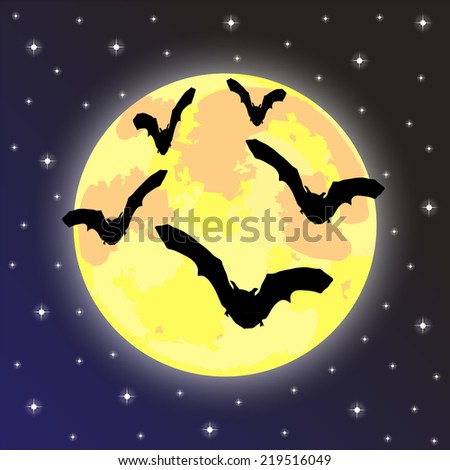 bats on the background of the full moon  - stock photo