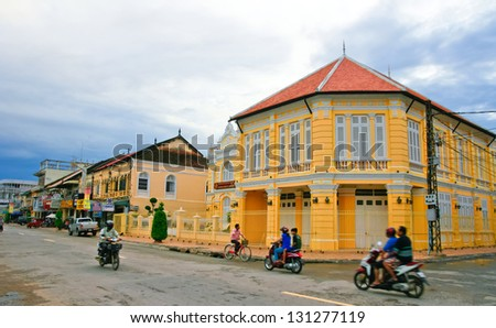 BATTAMBANG, CAMBODIA - SEP 12:French-style building on Sep 12, 2012 in Battambang. Battambang is the second largest city in Cambodia, Was once a French colony,a population of about 10 million. - stock photo