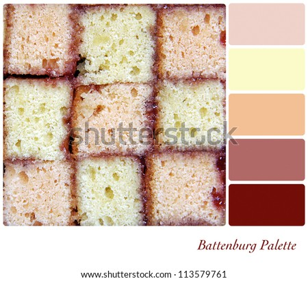 Battenburg cake background colour palette with complimentary swatches. - stock photo