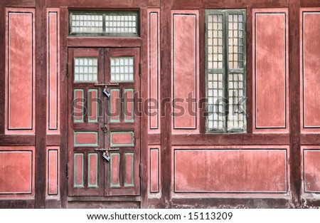 Battered Ancient Asian Palace Facade(Release Information: Editorial Use Only. Use of this image in advertising or for promotional purposes is prohibited.) - stock photo