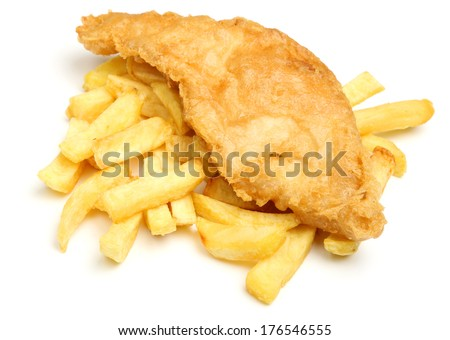 Battered cod fish and chips. - stock photo