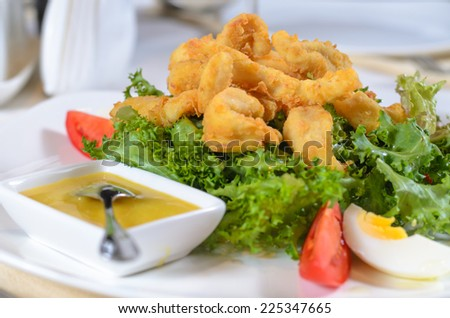 Battered deep fried calamari on a bed of fresh leafy green lettuce with a savory sauce served as a delicious seafood appetizer or meal - stock photo