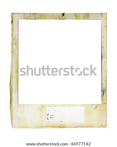 battered instant  photo frame with paint splatters and blank tag, free copy and picture space - stock photo