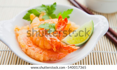 Battered King Prawns with Lime.