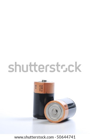 batteries isolated on white - stock photo