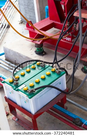 Batteries of an Diesel engine driven fire pump. - stock photo