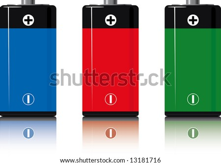 batteries.three. isolated on white. reflection. a vector illustration - stock photo