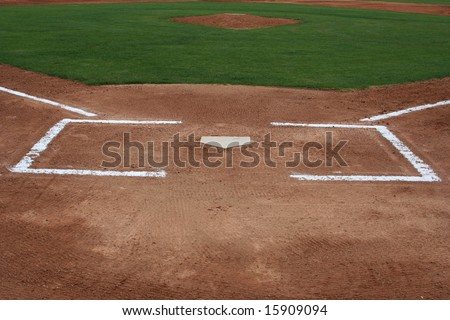Batters box with the pitchers mound in the background, sports background - stock photo