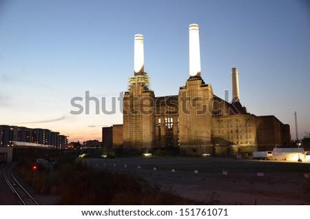 Battersea Power Station in Battersea. - stock photo