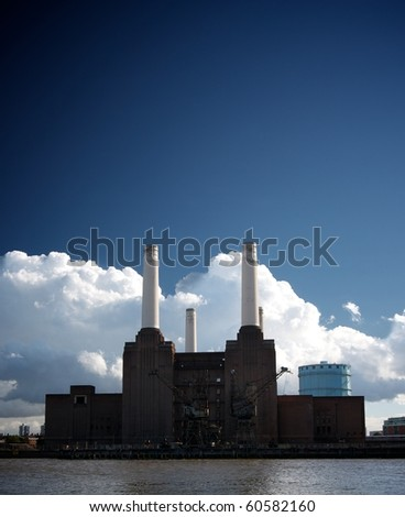 Battersea Power Station on the banks of the River Thames in London, UK
