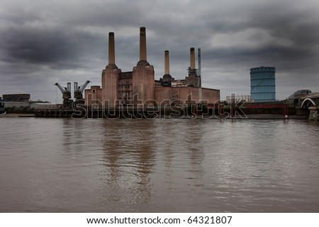 Battersea Power Station on the river Thames London England UK - stock photo