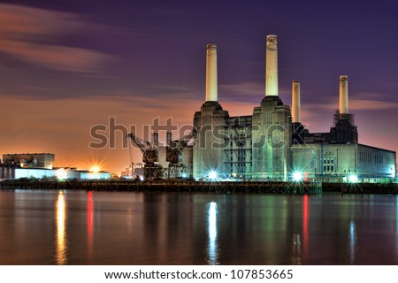 Battersea Power Station River View - stock photo