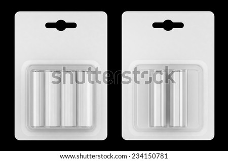 Battery AA blister packed isolated on black background - stock photo