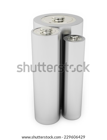 Battery Alkaline Cadmium Chemical Three Isolated on White Background
