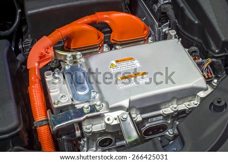 Battery and hybrid Engine - stock photo