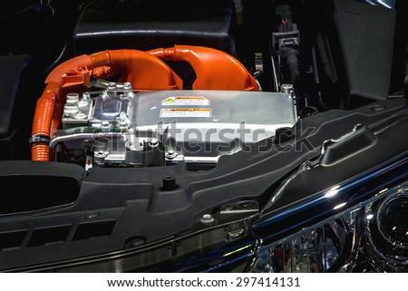 Battery and hybrid Engine - stock photo