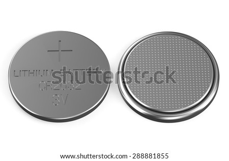 battery buttons top and bottom views isolated on white background - stock photo