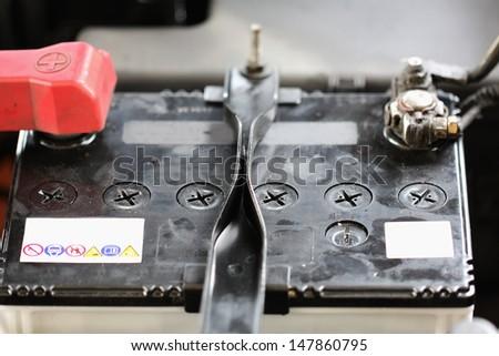 Battery car terminal - stock photo