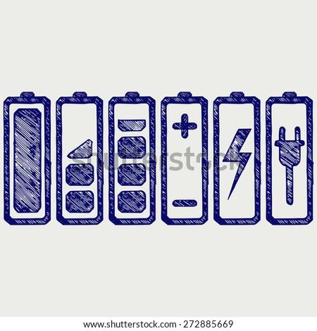 Battery charge level indicators. Doodle style. Raster version - stock photo