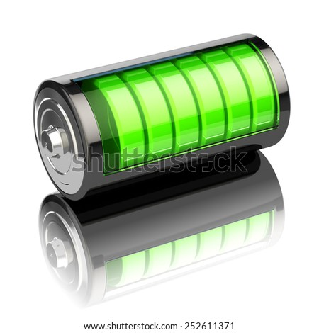 Battery charge level indicators isolated on white. Charging. 3d - stock photo