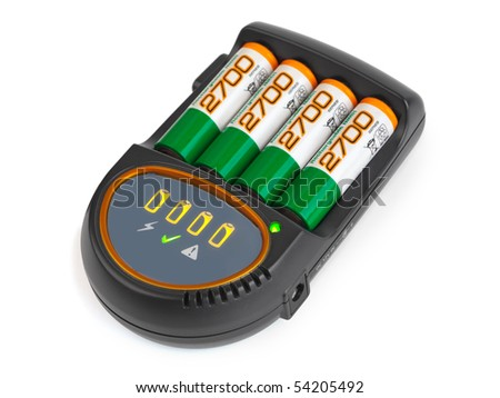 Battery charger isolated on white background - stock photo