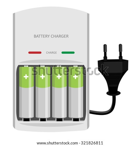 Battery charger with finger batteries and indicators low, high raster isolated, black electric plug in - stock photo