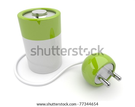 battery charger with plug. 3D isolated - stock photo