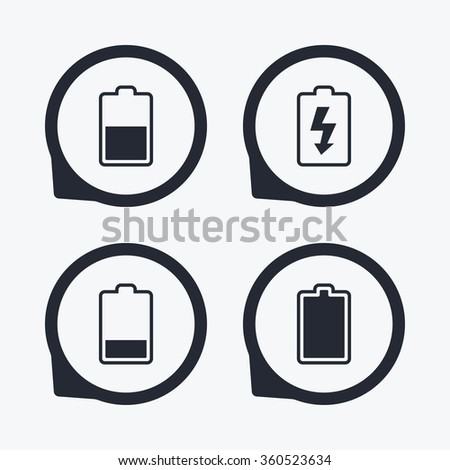 Battery Charging Icons Electricity Signs Symbols Stock Illustration