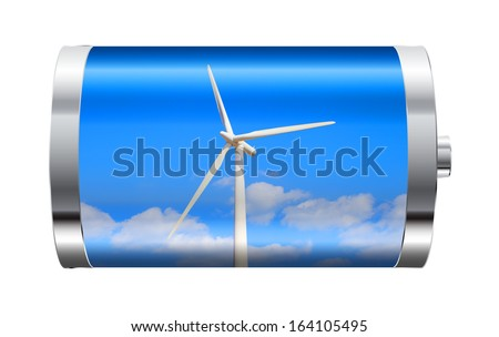 Battery containing wind turbine against blue sky  - stock photo