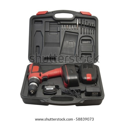 Battery drill in a case isolated over white backgruond