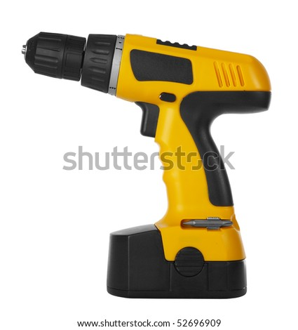 Battery drill on a white background