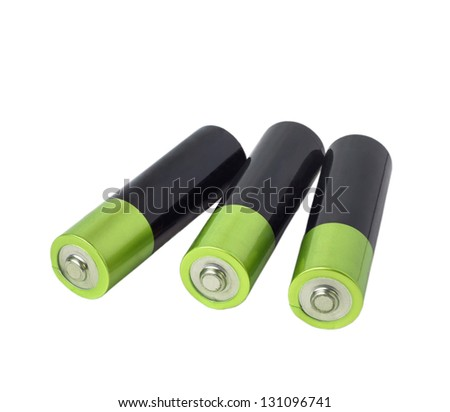 battery green three isolated on white background clipping path - stock photo