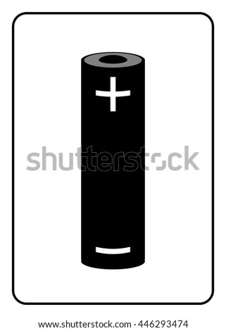 Battery Icon Black Sign Isolated On Stock Illustration 446293474
